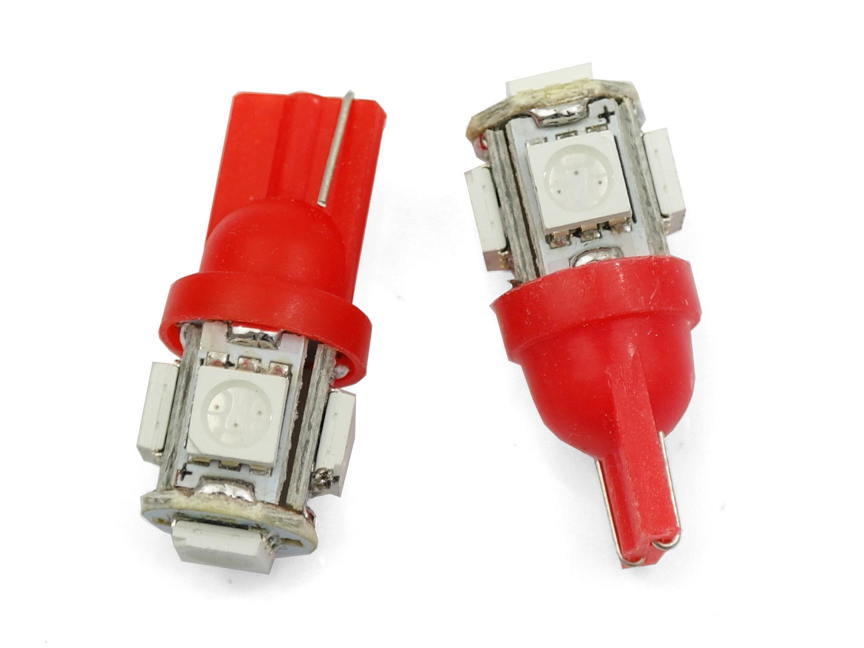 Interlook LED auto žárovka LED T10 W5W 5 SMD 5050 červená